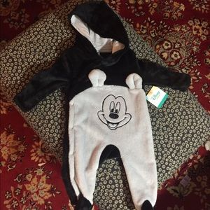NWT Baby Disney Hooded Fleece Romper Sz 3-6M